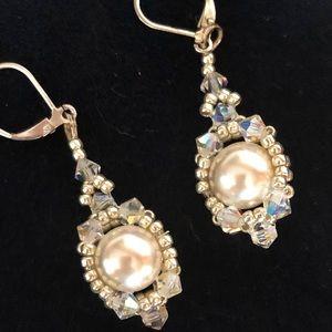 Elegant Pearl & Crystal Earrings